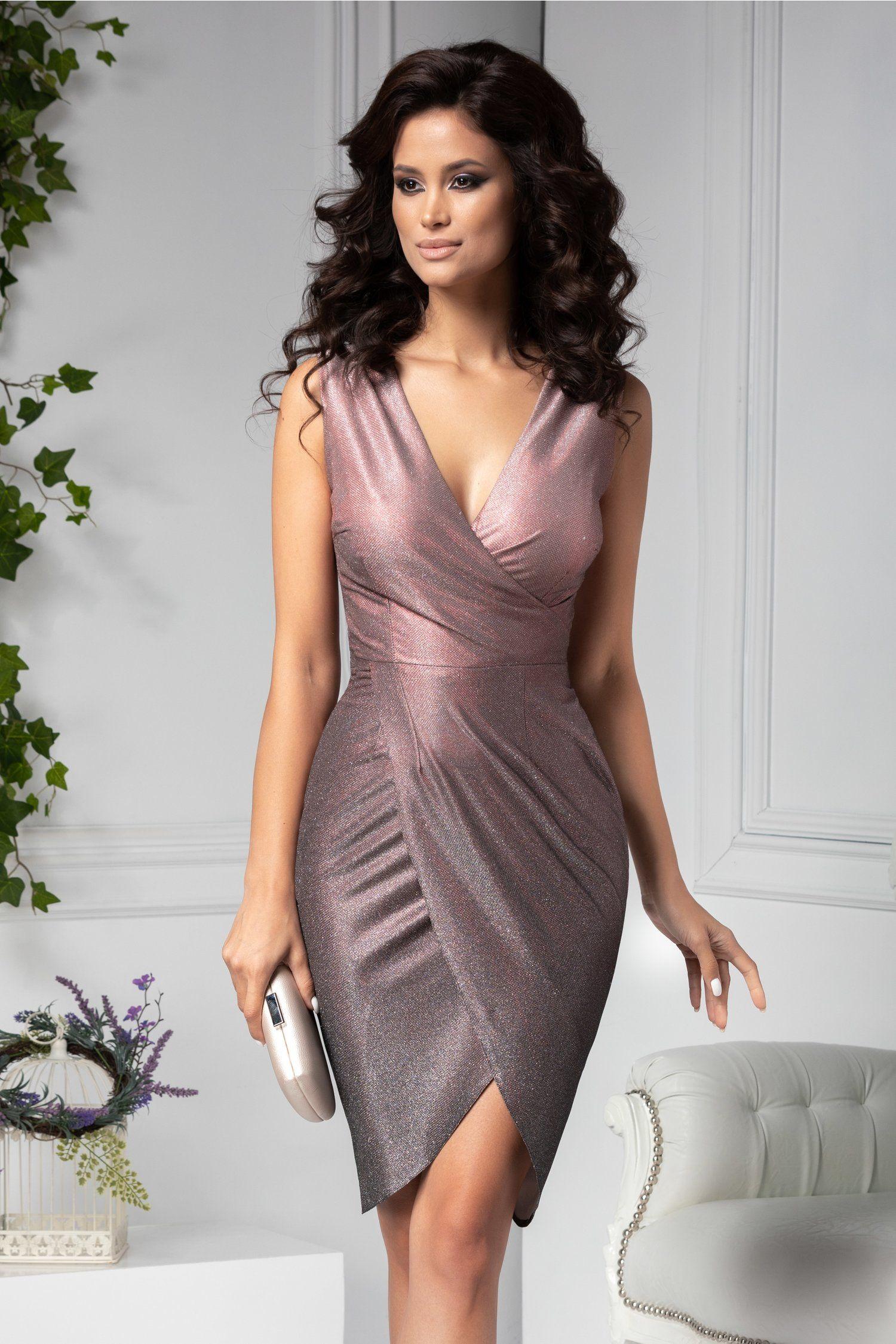 Rochie Moze De Ocazie Petrecuta Roz Cu Sclipici In Degrade Dresses