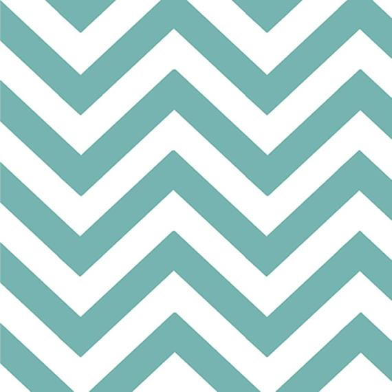 Aqua White Chevron Fabric Half Moon Modern Small Zig Zags | My ...