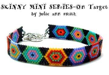 SKINNY MINI SERIES - On Target Peyote Bead Bracelet Pattern by Julie Ann Smith Designs at Bead-Patterns.com