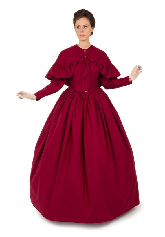 81033-4 Romantic Era Cotton Dress and Cape #dressesfromthesouthernbelleera