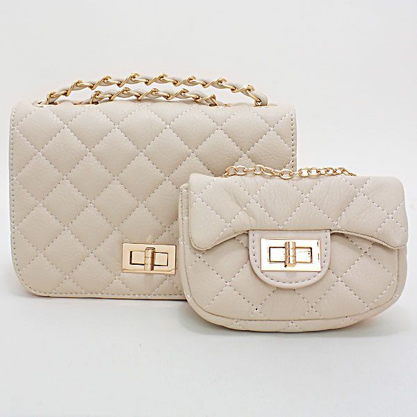 Quilted Diamond Pattern Leather Clutch Bag / 223260