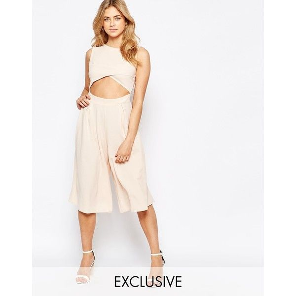 Love Cut Out Front Wide Leg Culotte Jumpsuit ($43) ❤ liked on Polyvore featuring jumpsuits, navy, cutout jumpsuit, white cut out jumpsuit, white jump suit, white wide leg jumpsuit and tall jumpsuit