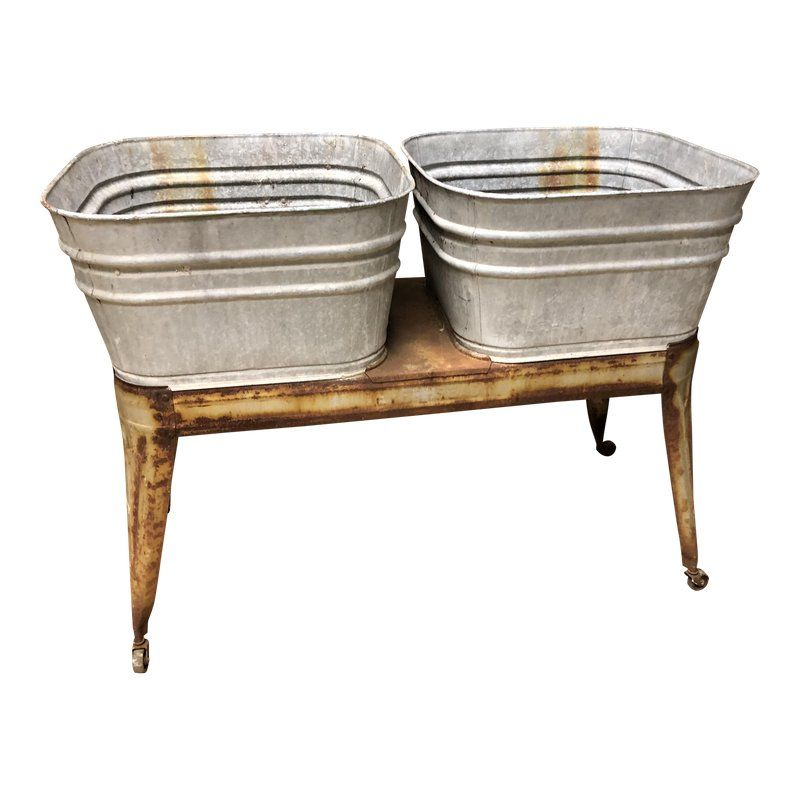 Vintage Galvanized Double Wash Tub With Stand Wash Tubs Galvanized Galvanized Tub