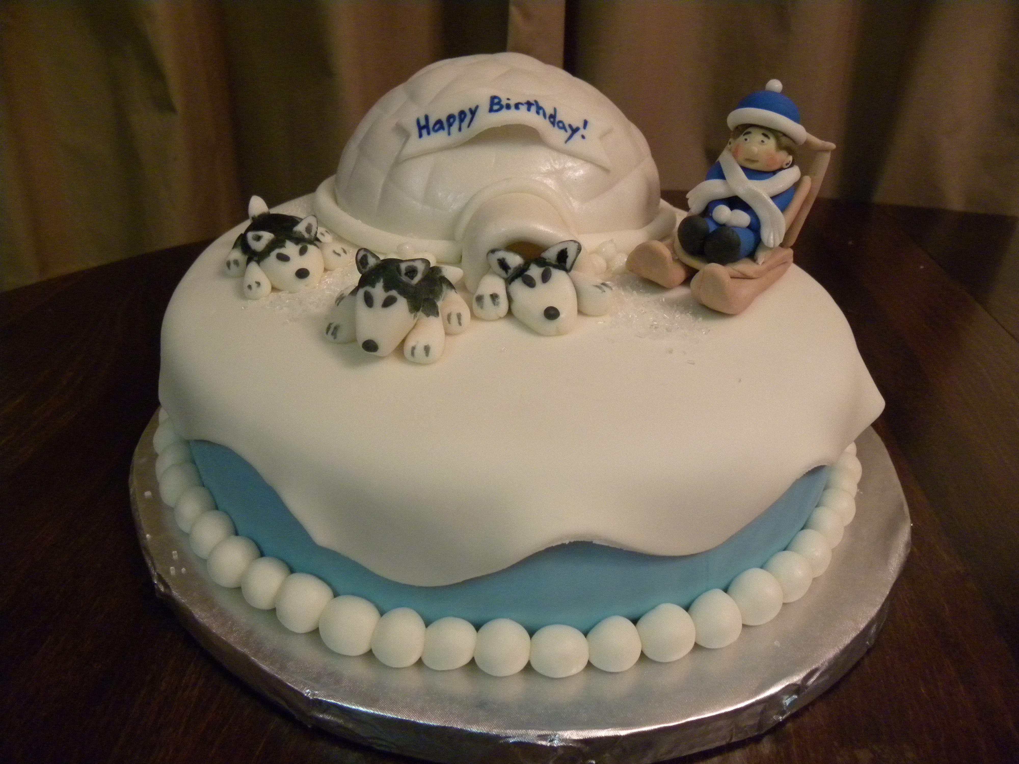 Husky Dog Sledding Cake Dog Birthday Cake Fondant Dog Dog Cakes