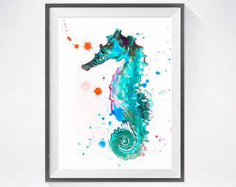 Aquarelle De Tortue De Mer Bleu Peinture Impression Par Slaveika
