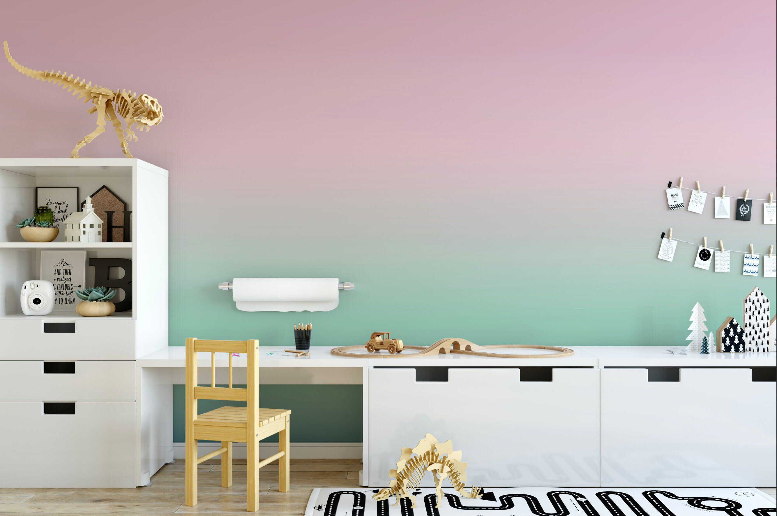 Blushing Cactus Ombre Wallpaper, Soft Muted Dip Dye Wall