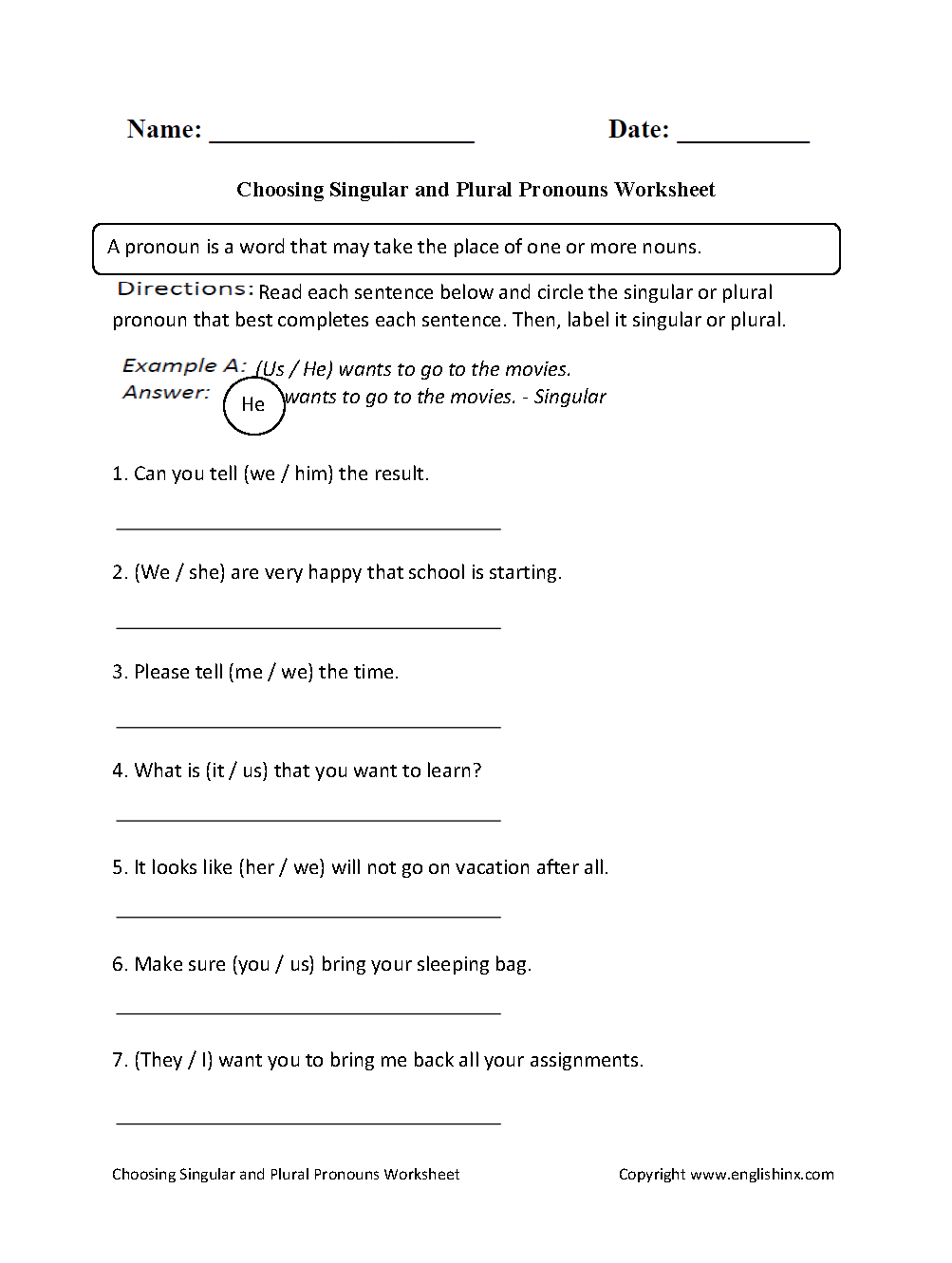 Choosing Singular or Plural Pronouns Worksheet  Grammar  education, multiplication, alphabet worksheets, and grade worksheets Noun And Pronoun Worksheets For Middle School 1331 x 1003