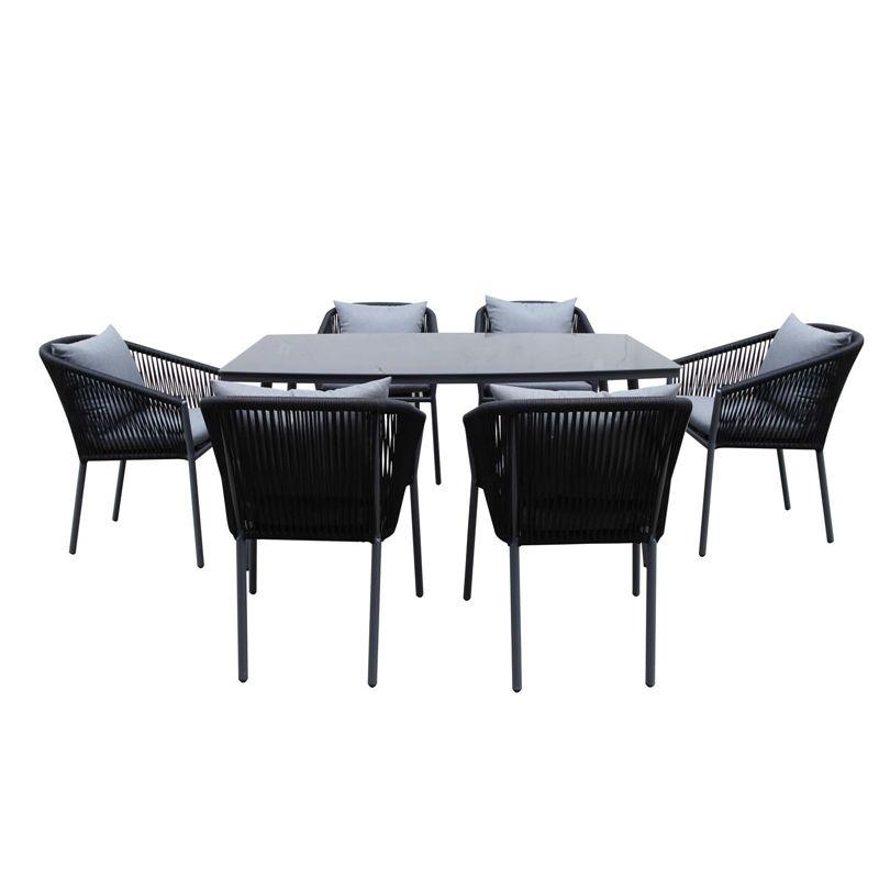 Matara Steel 6 Seater Rectangular Garden Furniture Set 400 x 300