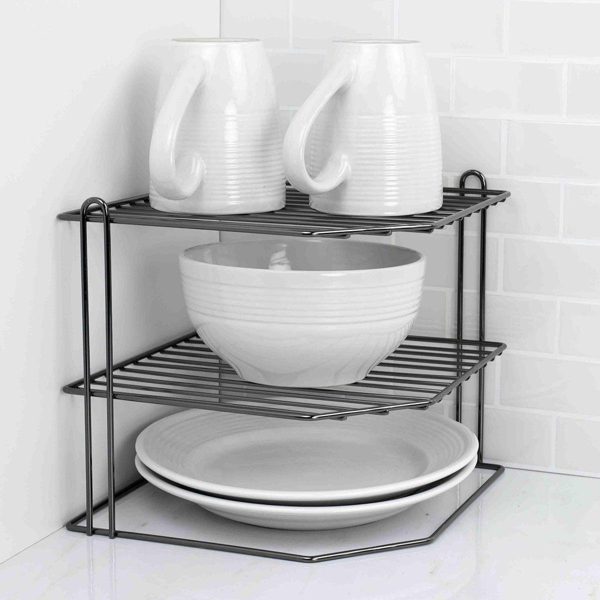 Home Basics Black Metal Corner Kitchen Shelf Rack
