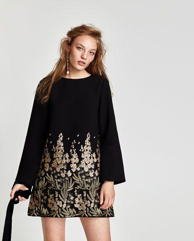 Robe de soiree noire courte zara