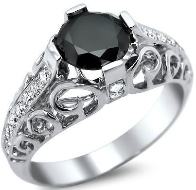 Amazing Vintage Style Black Diamond Ring Black Diamond Ring Engagement Round Diamond Engagement Rings Black Engagement Ring