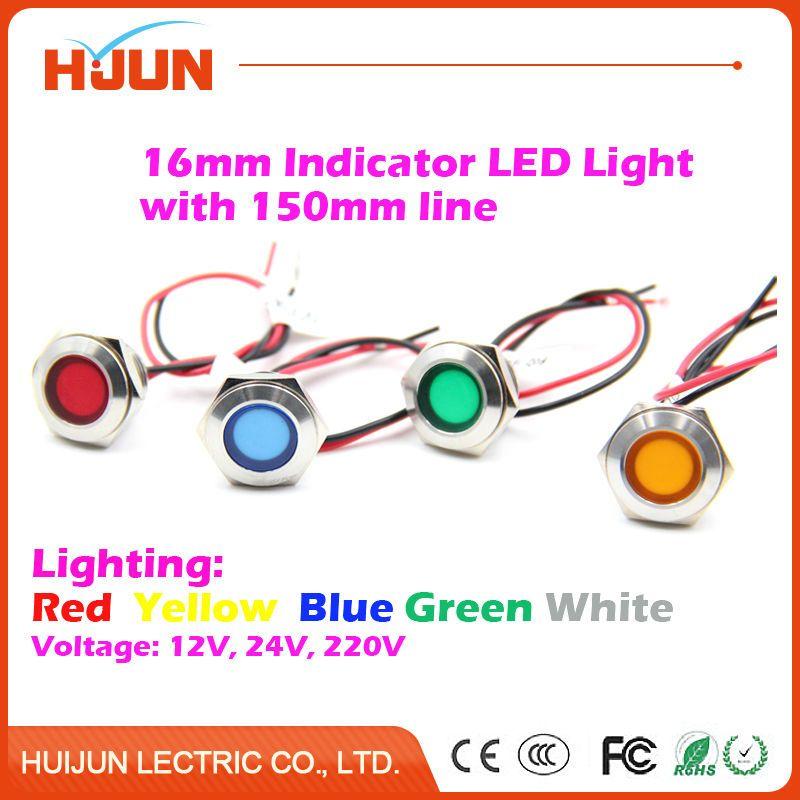 1pcs 16mm Waterproof Metal Flat Round Indicator Led Lamp Signal Pilot Light Red Yellow Blue Green White With 150mm Wi Light Red Blue Green Red Yellow