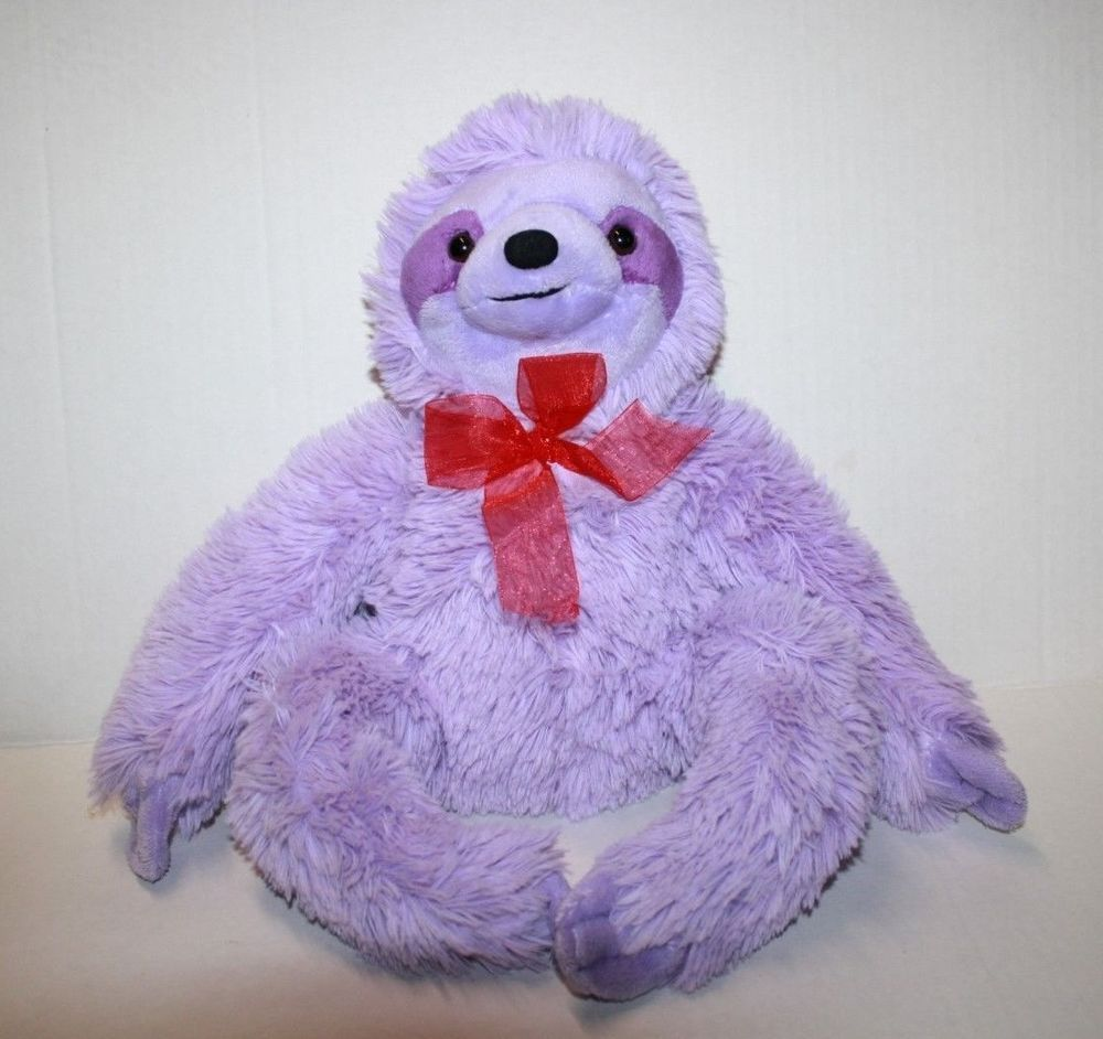 Inter American Products SLOTH Purple Plush Red Bow Soft