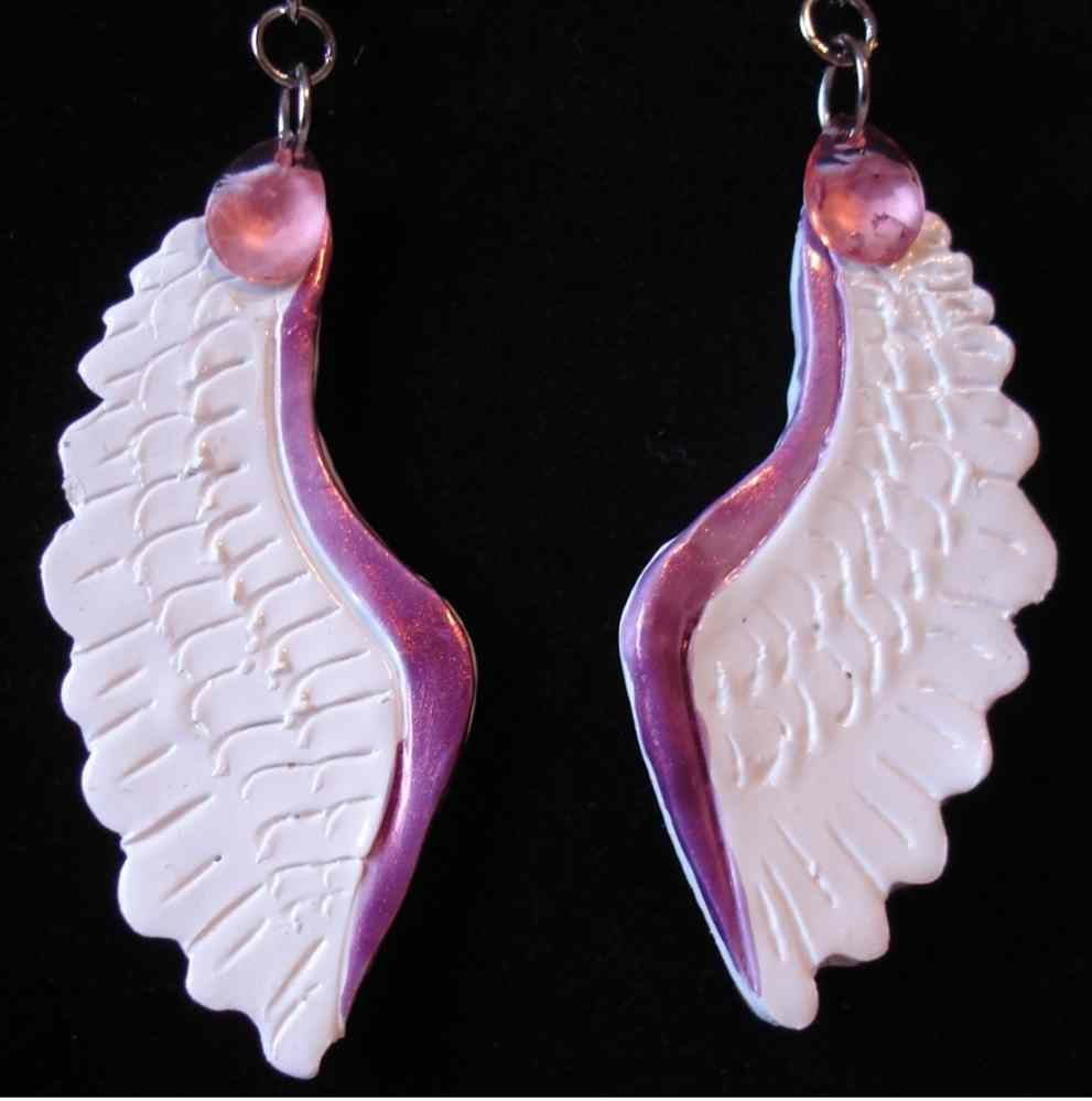 Little Pink Fantasy Angel Wing Earrings with Swarovski Crystals