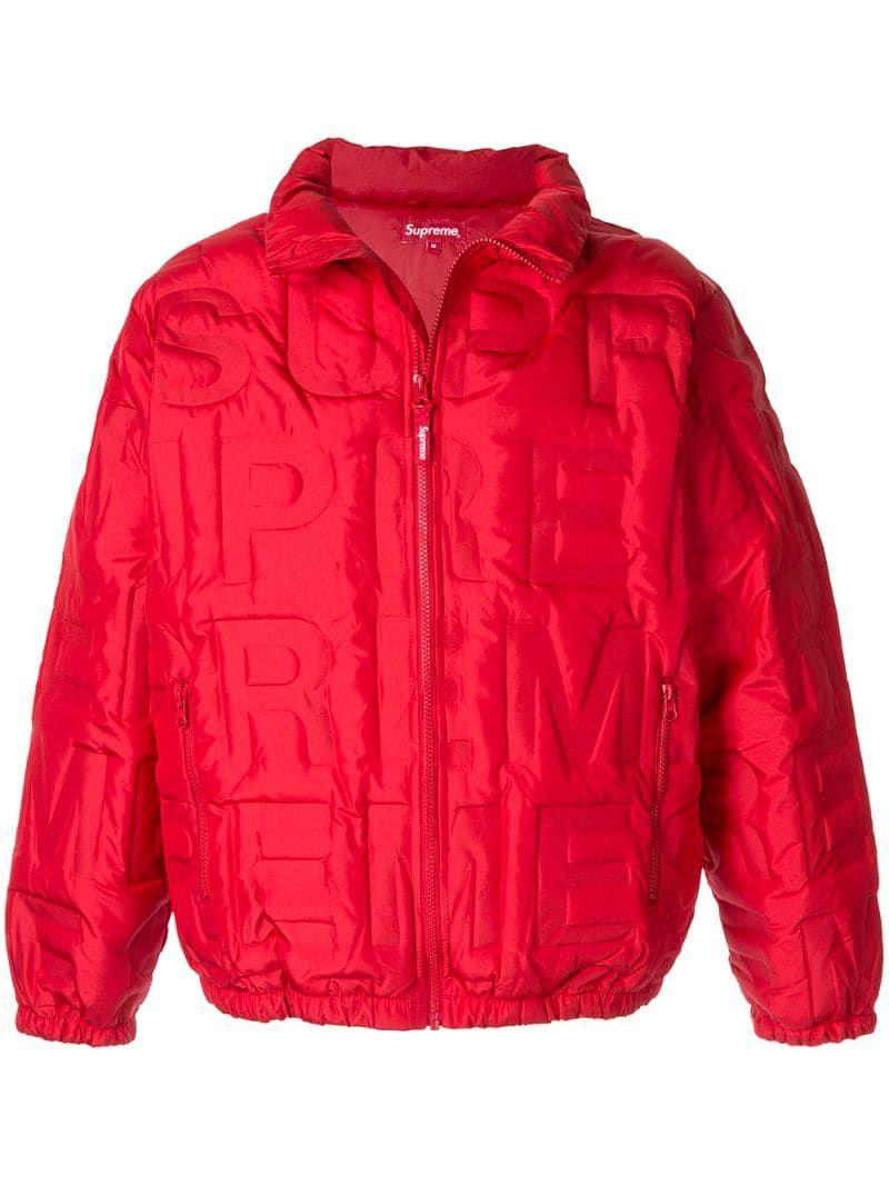 Supreme Embossed Logo Puffer Jacket Farfetch Puffer Jackets Jackets Red Jacket [ 1067 x 800 Pixel ]