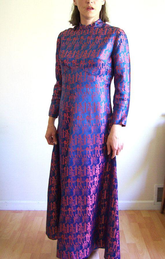 Vintage satin brocade dress Walk like an by HyacinthVintage