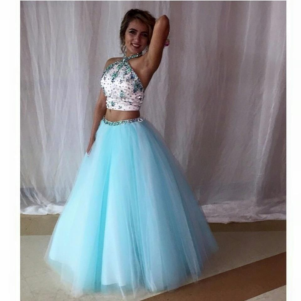 2016 New Two Pieces Prom Dresses Real Pics Halter Neck Beading ...