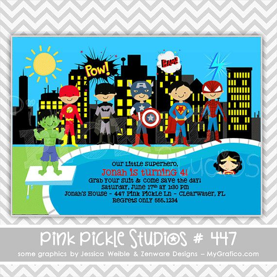 Superhero Invitation, Superhero Party, Superhero Pool Party - birthday invitation pool party
