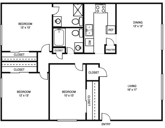 3 Bedroom House Floor Plan House Floor Plans 3 Bedroom 2 Bath House Floor Plans 3 Bedroom 2 In 2020 3 Bedroom Floor Plan House Plans House Floor Plans