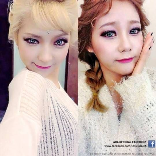 Aoa S Choa And Yuna Transform Into The Frozen Sisters Elsa And Anna Aoa Frozen Sisters Pretty People