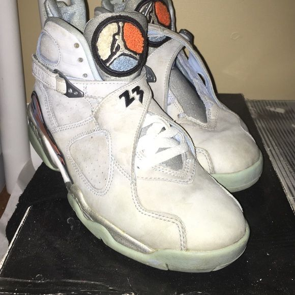 Jordan ice blue 8s Have other lace , good condition 8:10 paint fade from age 2007 Shoes Sneakers
