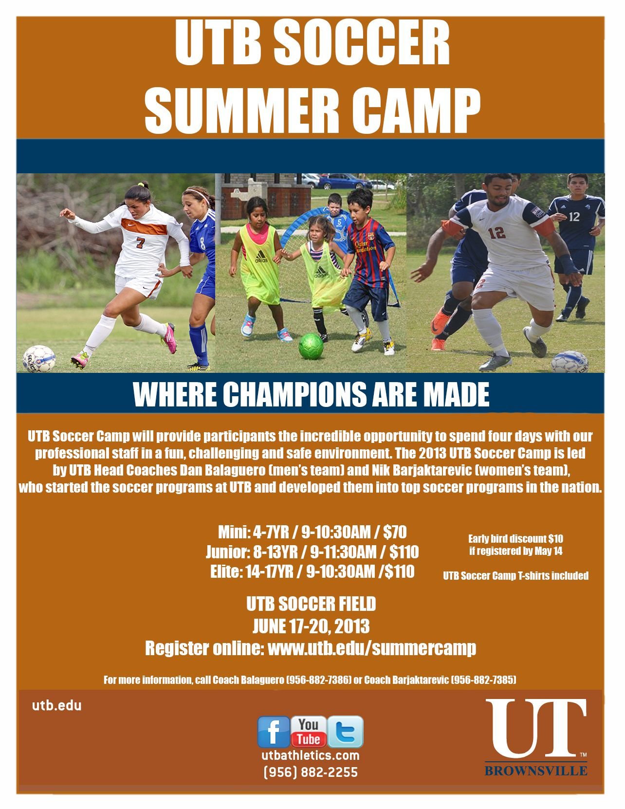 Don T Miss Out On This Summer S Youth Soccer Camps Click On Flyer For All The Information Www Utbathletics Com Soccer Camp Summer Youth Youth Soccer