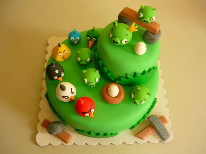 angry birds cake two round layers would be pretty easy ideas