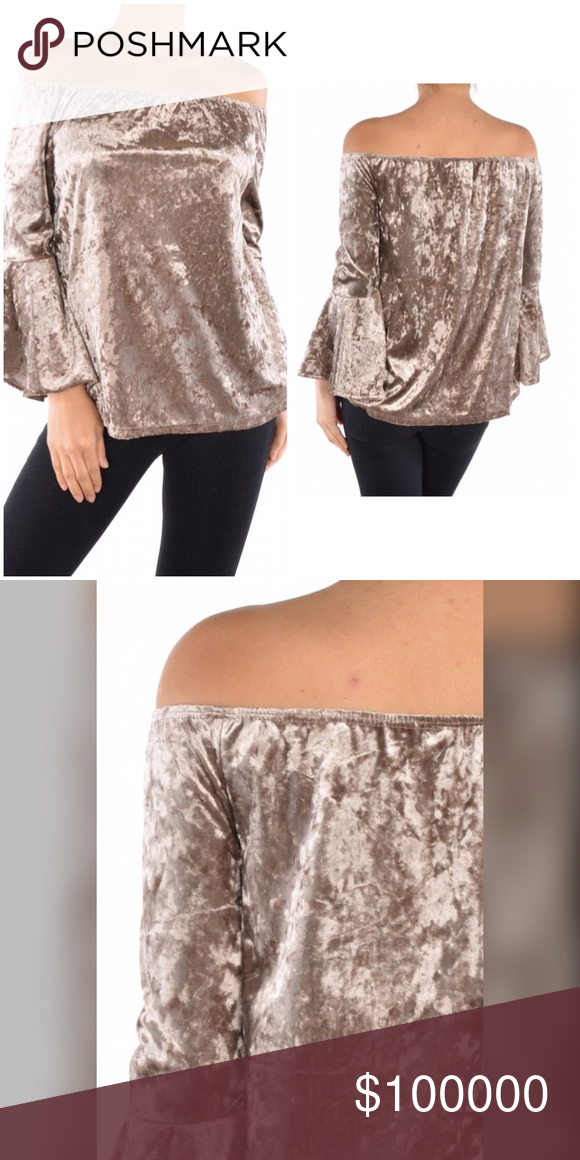 Velvet off shoulder bell sleeve top! On the way! Stunning piece in mocha with a beautiful sheen to the velvet! Tops
