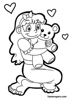 Printable Valentines Day girl with a cute teddy bear ...