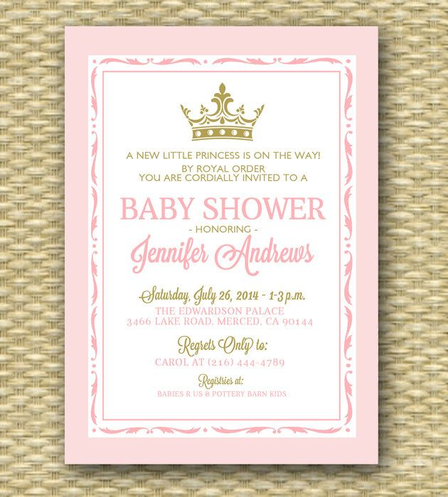Princess baby shower invitation pink and gold royal baby shower pink and gold princess baby shower invitation royal baby shower little princess shower sip filmwisefo Images