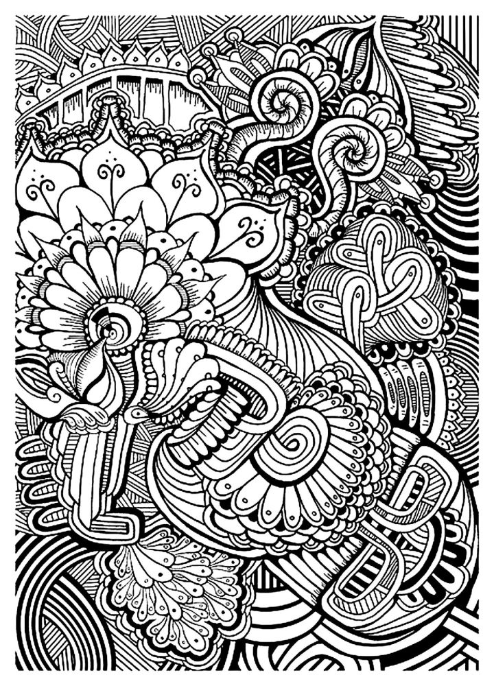 abstract floral intricate coloring pages for grown ups - Intricate Coloring Books
