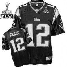 new style 2c8ec c5a7c Patriots #12 Tom Brady Black Shadow Super Bowl XLVI Stitched ...
