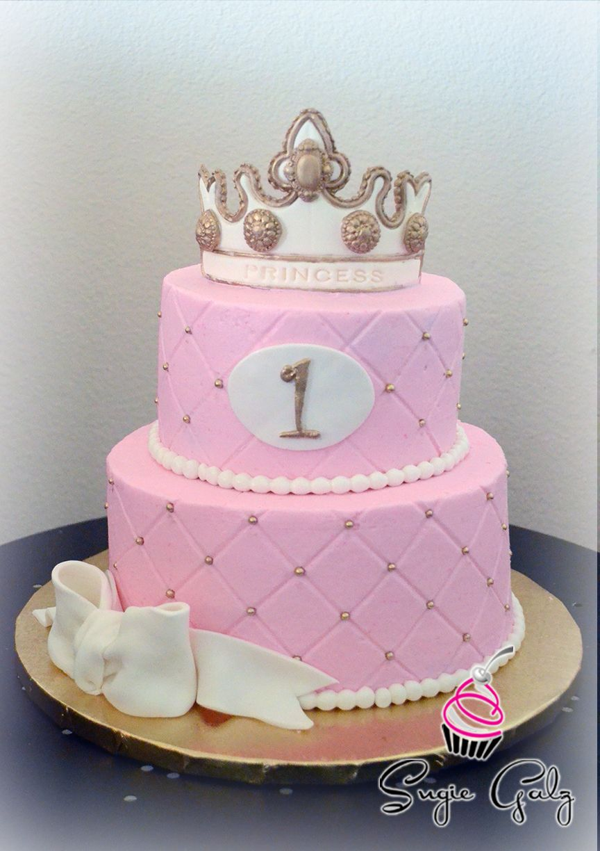 Pink White And Gold Princess Themed First Birthday Cake