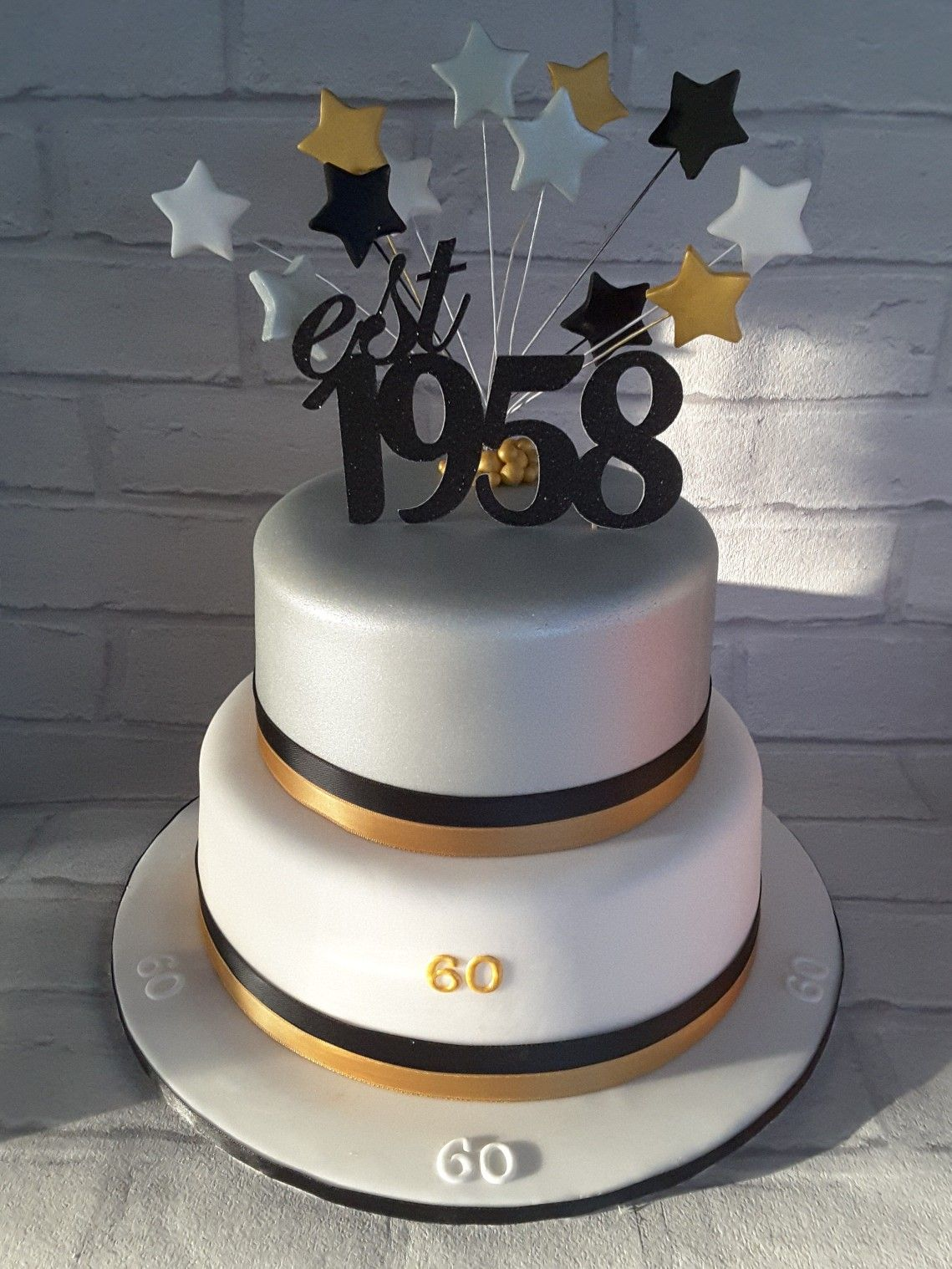 60th Birthday Cake Gold Silver And Black With Stars With
