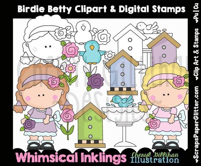 Birdie Betty Clip Art, BONUS Lineart, Digital Stamps, Black & White, Line Art, Instant Download, Bird House, Blue Bird, Girl, Flower, Garden by ResellerClipArt on Etsy