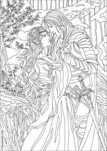 Fantasia Fantasy Romance Printable Adult Coloring Pages Adult