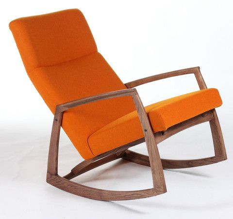 The Bollnas Rocker Lounge Chair Is Made Of Solid Wood And Upholstered In Contract Grade Fabric With Multila Rocking Chair Wooden Lounge Chair Mid Century Chair
