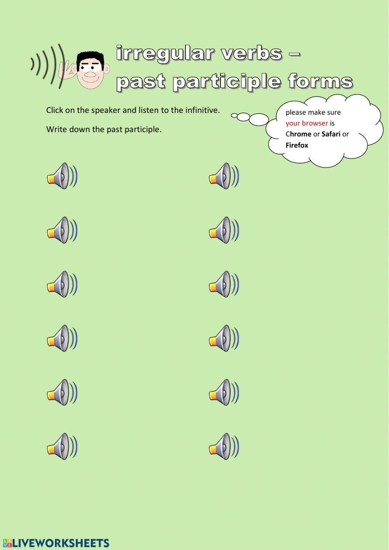 Irregular Verbs Past Participles Interactive Worksheet Irregular Verbs Verb Worksheets Verb [ 1413 x 1000 Pixel ]