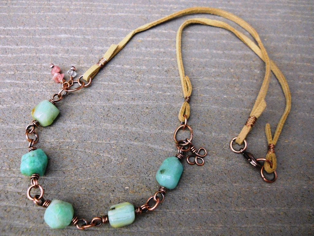 A Celtic Touch - Turquoise Wire Wrap Necklace - Copper Wire Wrap ...