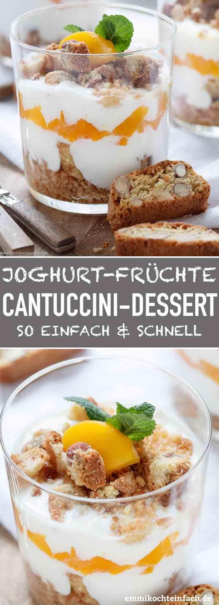 Joghurt Cantuccini Dessert mit Pfirsichen   - emmikochteinfach - Der Food-Blog mit einfachen Rezepten, die gelingen -