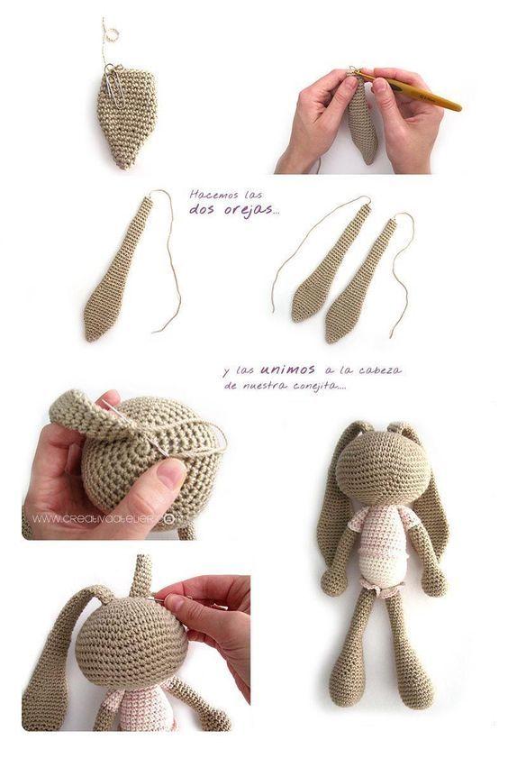 Peluche de crochet conejita de orejas largas - Amigurumi | Mascota ...