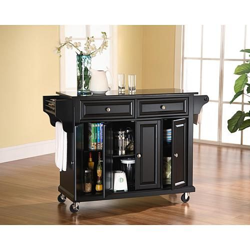 Home Marketplace Crosley Solid Black Granite Top Kitchen Cart - Black