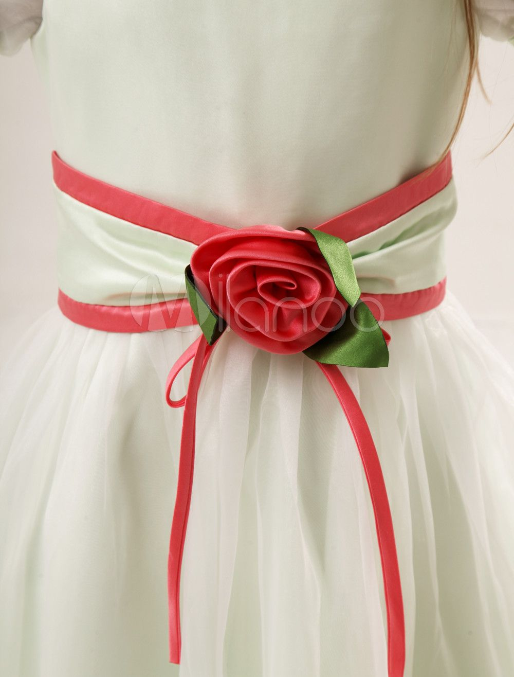 bc2c35c1d58 Cute A-line Sage Satin Jewel Neck Flower Wedding Flower Girl Dress  Satin