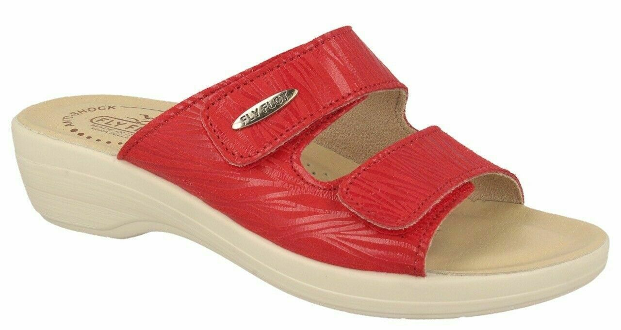 Photo of FLY FLOT T5B18 2E ROSSO CIABATTE DONNA MADE IN ITALY DUE STRAPPI REGOLABILI SOTT…