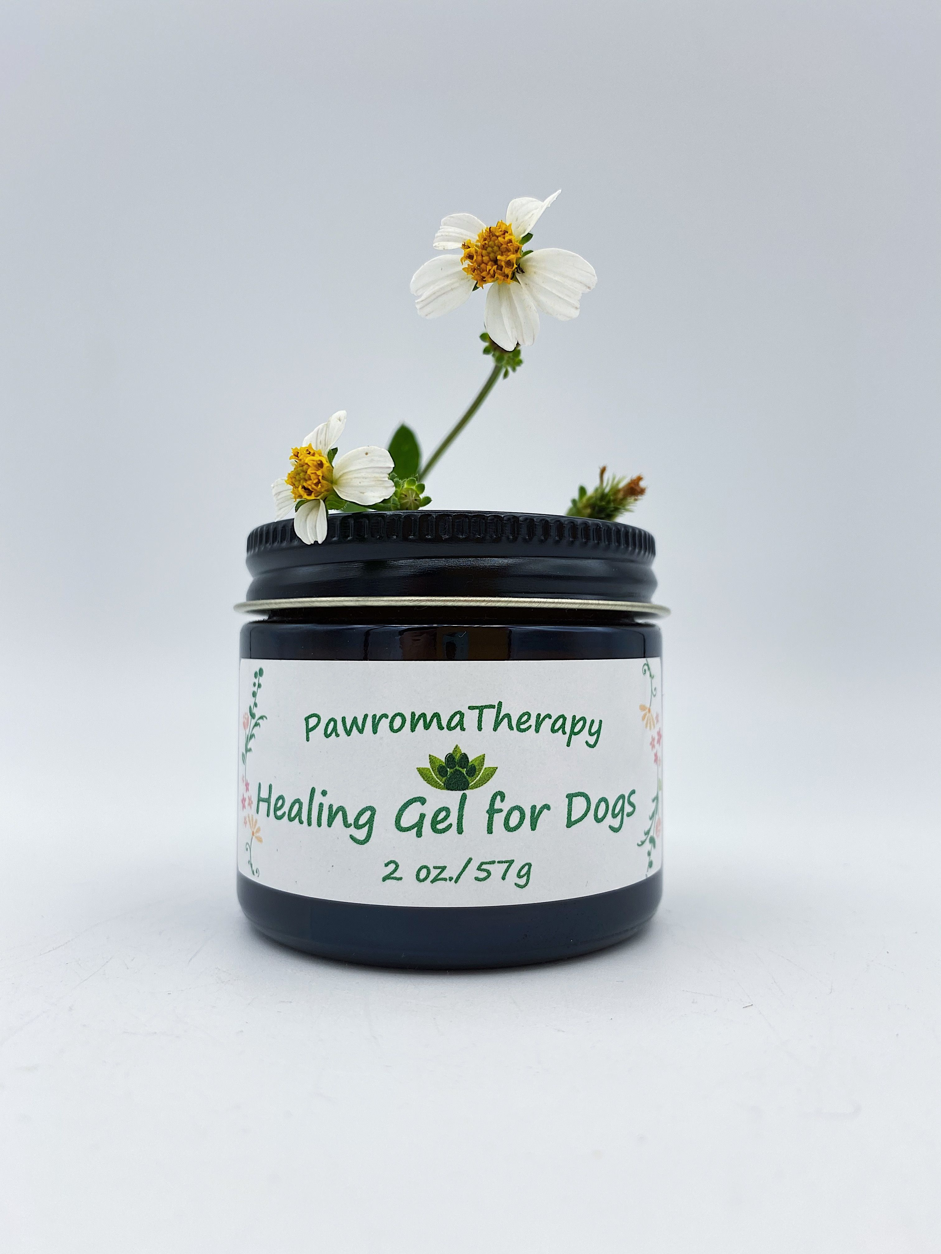 Healing Gel for Dogs, Amber Glass Jar, 2 oz, Natural Skin