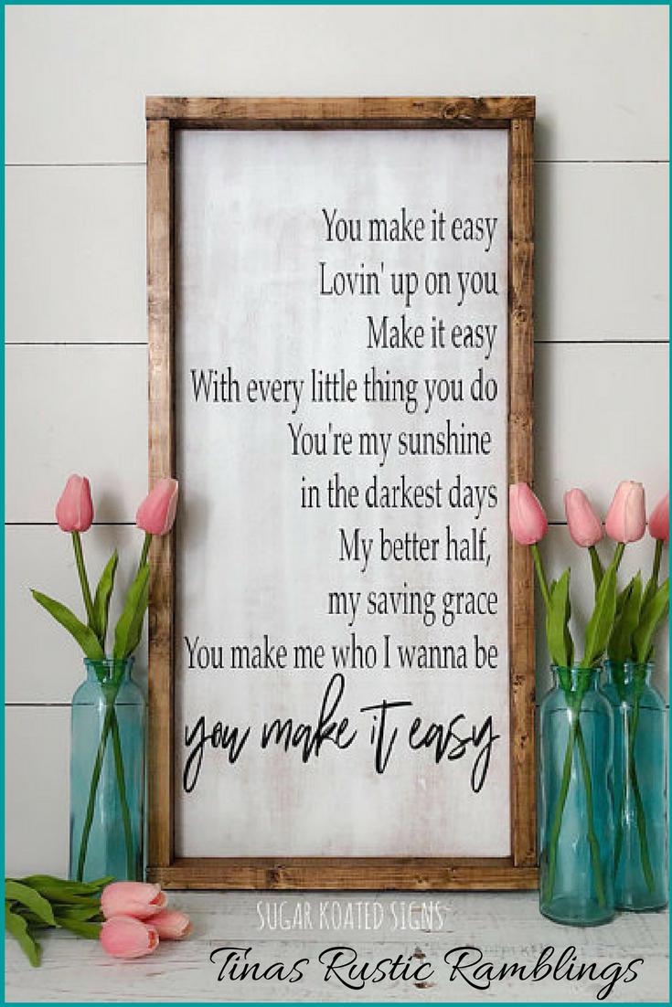 You Make It Easy - Jason Aldean Wood Sign // Country Lyrics // Love ...