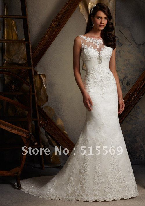 2013 Simple A Line Chapel Train Portrait Pleats Satin Wedding ...
