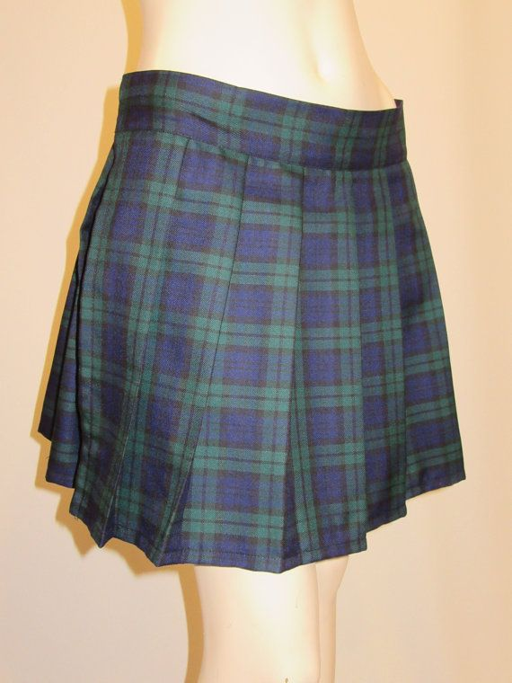 7b31c741c Black Watch Plaid Pleated Skirt~Blue Black Green Tartan Plaid Skirt ~Highland…