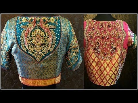 7704d81aaccbb Latest Silk Saree Embroidery Blouse Designs - YouTube