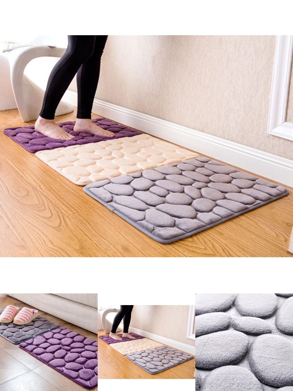 Visit To Buy 40x60cm Nonslip Carpet Floor Pebble Flannel Bathroom